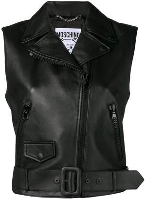 Moschino Bear patch biker gilet