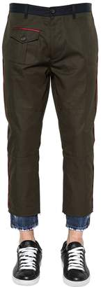 DSQUARED2 Hockney Cotton Twill Pants W/ Denim Hem