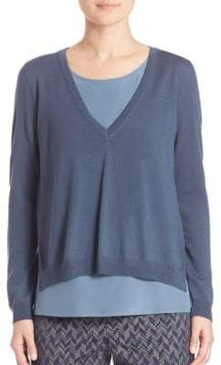 Peserico Layered Merino Wool & Silk Sweater