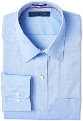 Tommy Hilfiger Blue Solid Regular Fit Dress Shirt