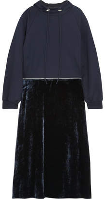 Cédric Charlier Convertible Cotton-jersey And Velvet Hooded Midi Dress - Black