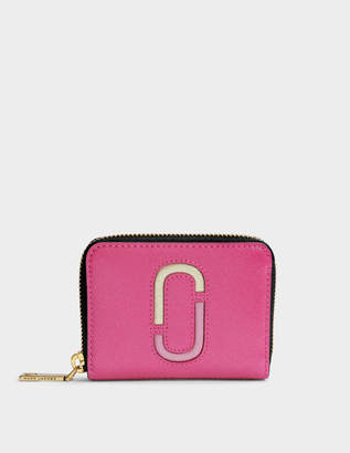 Marc Jacobs Double J Saffiano Zip Card Case in Pink Split Cow Leather