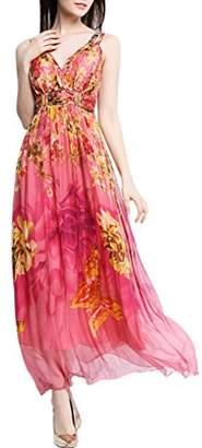 Mulberry CDCLOTH Women's Summer Sling Silk Dress Backless Silk Beach Long Dress