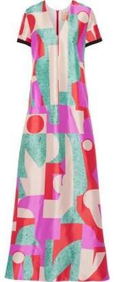 Roksanda Fluro Printed Silk-Blend Satin Gown