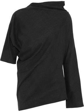 Y-3 + Adidas Asymmetric Draped Cotton-Jersey Top