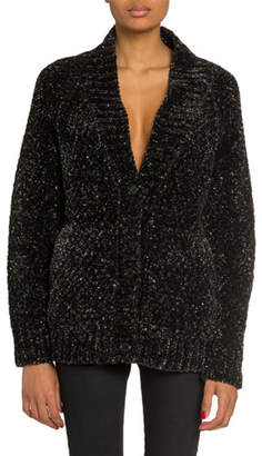 Saint Laurent Metallic Flecked Chenille Cardigan