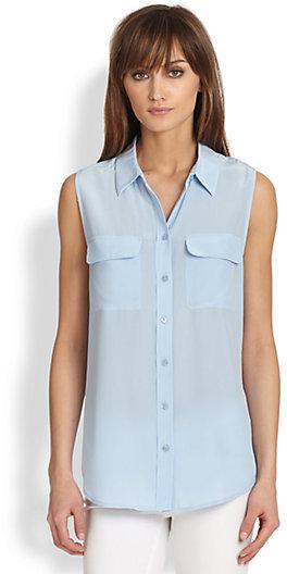Equipment Slim Signature Sleeveless Silk Shirt