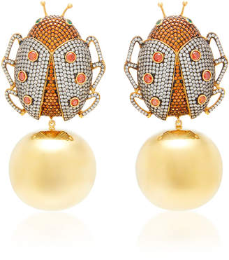 Begum Khan Lady Beetle Party 24K Gold-Plated Crystal Earrings