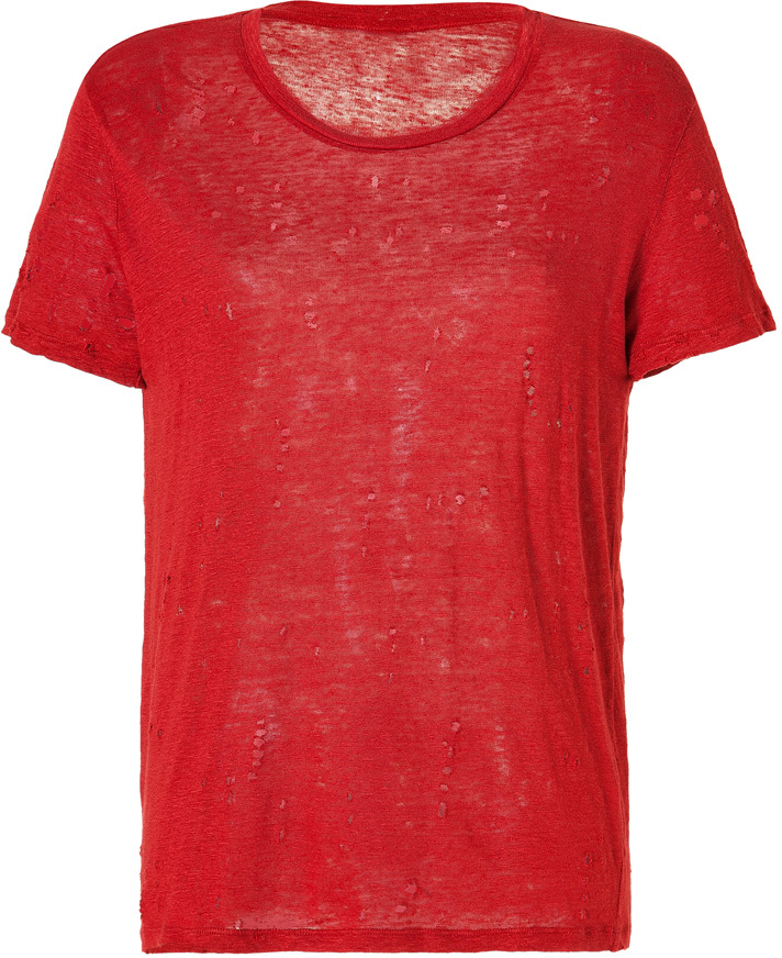 IRO Linen Destroyed T-Shirt in Red