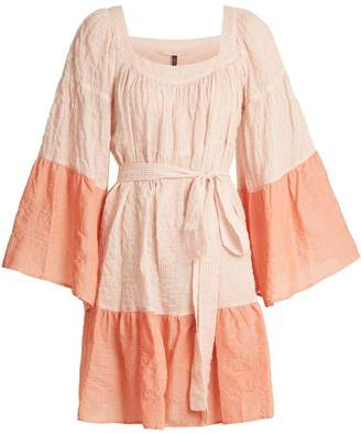 Lisa Marie Fernandez Ruffled Waist Tie Striped Cotton Blend Dress - Womens - Pink Multi