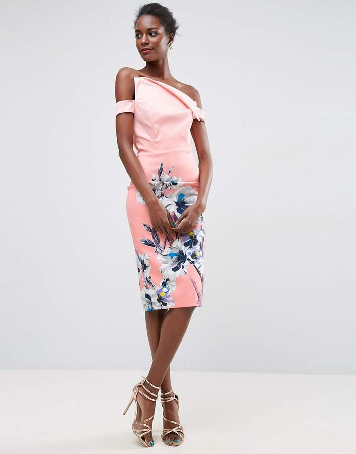 Asos ASOS Print Pink Floral Asymmetric Placement Bardot Midi Dress
