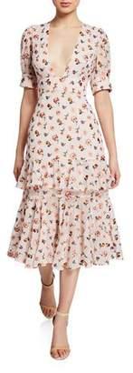 La Maison Talulah Floral Plunge-Neck Elbow-Sleeve Ruffle Midi Dress