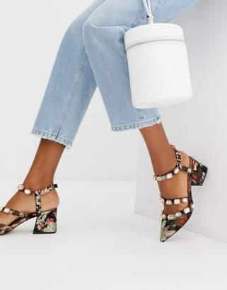 Asos Design DESIGN Saffron embellished mid heels