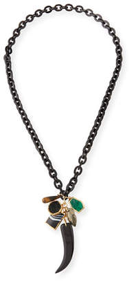 """NEST Jewelry Horn-Link Mixed Pendant Necklace w/ Tusk, 40"""""""