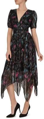 The Kooples Floral-Print Metallic Dress