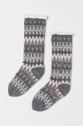 H&M Pile-lined Ragg Socks - Gray