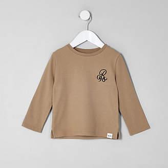 River Island Mini boys beige waffle long sleeve top