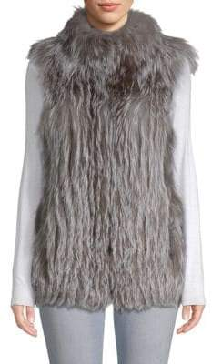 Vertical Full Skin Cross Fox Fur Vest