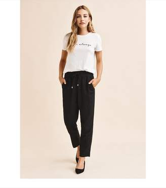 Dynamite Cindy High Rise Linen Pant - FINAL SALE JET BLACK