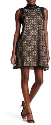Max Studio Mock Neck Sleeveless Lace Dress