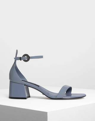 Signature Label Ankle Strap Leather Heeled Sandals