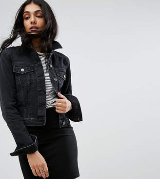 Asos Tall DESIGN Tall denim shrunken jacket in washed black