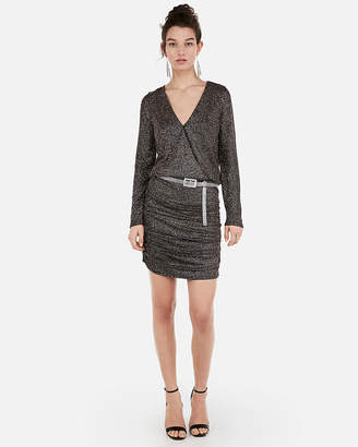 Express Petite Metallic Ruched Surplice Mini Dress