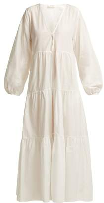 Matteau - The Long Sleeve Tiered Cotton Midi Dress - Womens - White