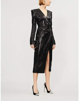 David Koma Sequinned wrap dress