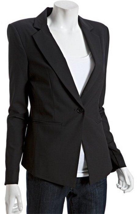 BCBGMAXAZRIA black wool blend padded shoulder one-button blazer