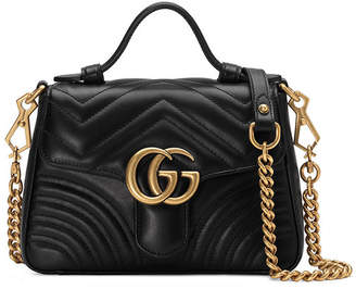 21958a43e203 Gucci GG Marmont Mini Chevron Leather Satchel Bag