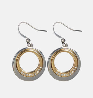 Avenue Two Tone Diamond Circle Earrings