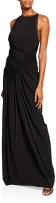 Jason Wu Collection High-Neck Backless Gathered Fluid Jersey Gown