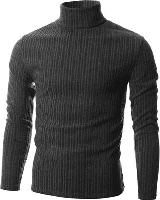 Blend of America GIVON Mens Slim Fit Wide Ribbed Cotton Turtleneck Pullover/DCP036-CHARCOAL-L