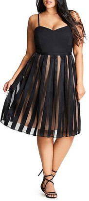 City Chic Pleated Stripe Skirt Dress $139 thestylecure.com