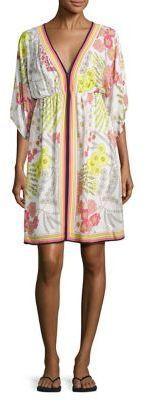 Trina Turk Tamarisk Floral-Print Kimono Sleeve Dress $328 thestylecure.com