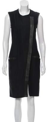 Helmut Lang Leather Trimmed Zip-Up Dress