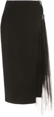 David Koma Side-Slit Tulle Pencil Skirt Size: 8