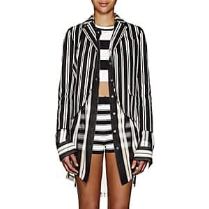 Marc Jacobs Women's Striped Stretch-Cotton Two-Button Blazer - Black Pat.
