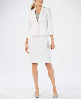 Le Suit Textured Jacquard Skirt Suit