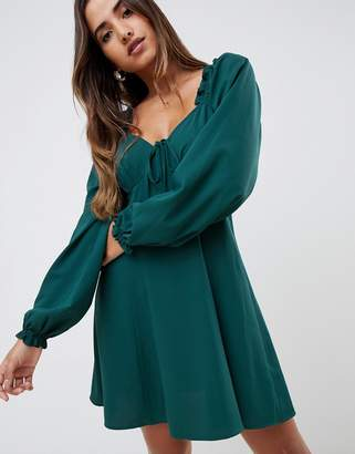 Asos Design DESIGN sweetheart babydoll mini swing dress with long sleeves
