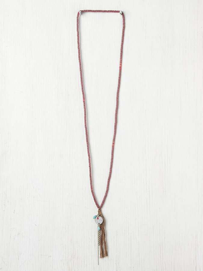 Free People Long Sequin Tassel Necklace