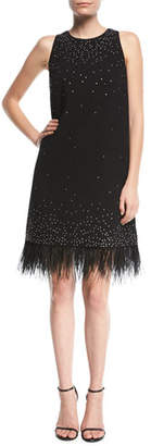 Aidan Mattox Beaded Crepe Cocktail Dress w/ Feather Trim