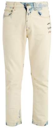 Gucci - Embroidered Mid Rise Slim Leg Jeans - Mens - Cream Multi