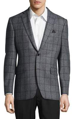 Black & Brown Black Brown Slim-Fit Windowpane Check Blazer