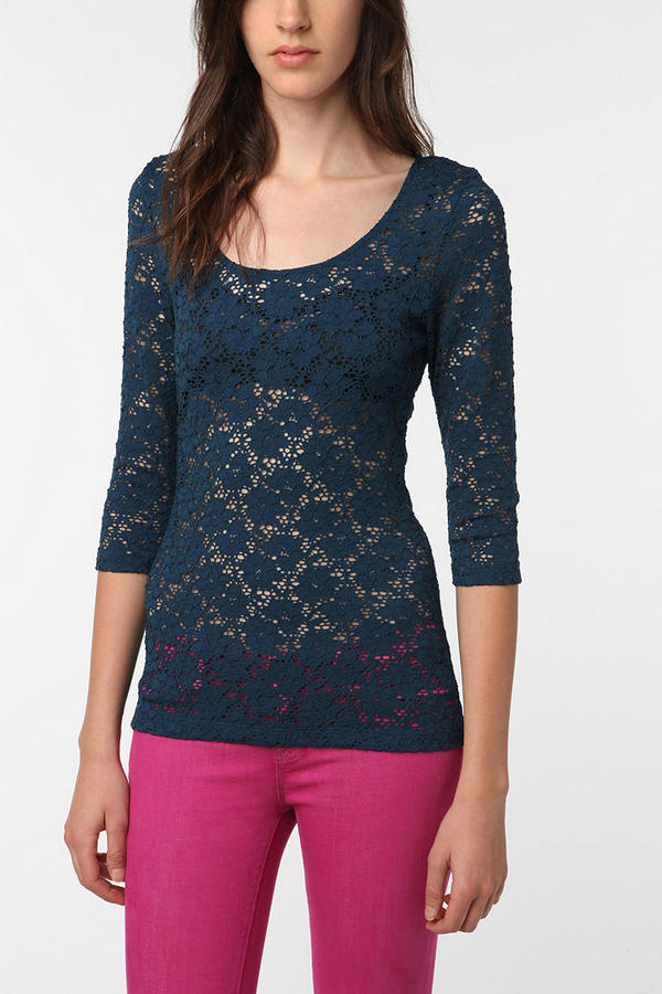 Pins and Needles 3/4 Sleeve Lace Top