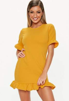 Missguided Mustard Frill Detail Short Sleeve Shift Dress