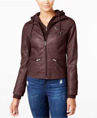 American Rag Knit-Hood Faux-Leather Jacket, Only at Macy's $99.50 thestylecure.com