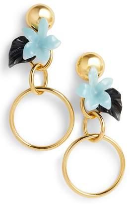 Lele Sadoughi Hibiscus Golden Hoop Drop Earrings
