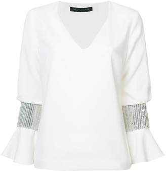 Sally Lapointe sequin cuff blouse